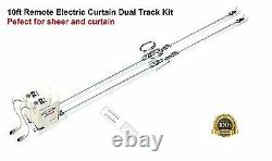 10' Remote Electric Motorized Window Curtain Dual Track for Sheers and Draperies