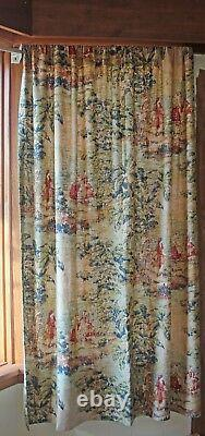 2 Covington Bosporus Antique Red Window Curtain Panels French Country