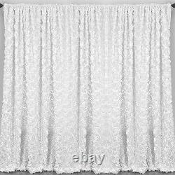 2 Rosette Drape Panels 54x108 20 Colors Window 3D Curtains Wedding Made in USA