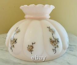 ALADDIN 1940's Pink Alacite LINCOLN DRAPE Oil Lamp Floral Shade Electrified