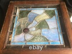 Antique Leaded Stained Drapery Glass & Jewel Craftsman Bungalow Window 16 Squar