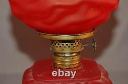 Antique Miniature Red Satin Glass Drape Pattern Lamp with Square Base/Round Top