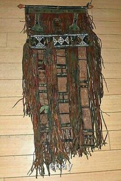 Antique Tuareg Tribe Tent Curtain Engraved Leather Window Hanging Mali, Africa