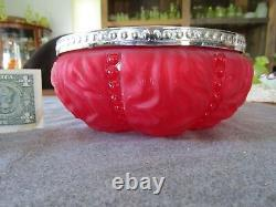 Consolidated Glass Red Satin Beaded Drape 8 1/2 Serving Bowl