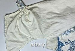 Custom Made Luxury Tab Top Window Valance Curtain Scalloped Blue & White Lined
