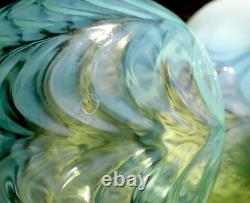 Fenton Drapery Green Opalescent #350 Cupped Flared Vase Circa 1910