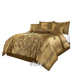 Luxurious Silky Gold Floral Jacquard 7 pcs Comforter Set Or Window Curtain