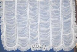 Milan Voile Hook-up Frilled Festoon Net Curtain Panel In White And Cream Bedroom