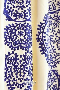 ONE 1 PANEL 63 Anthropologie MARRAKECH Blue Embroidered Window Curtain Moroccan
