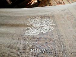 Pair Antique French Tambour Lace Embroidered Net Curtain D2.85m Window width 2m