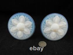 Pair Of Blue Opalescent Glass Antique Curtain Tie Backs