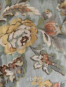 Pottery Barn Vanessa Window Curtain Drapes PAIR Blue Floral Lined 50x 84L HTF