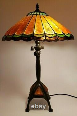 Quoizel Tiffany Reproduction Stained Glass Lamp with Shade Drapery 26 Orange Gold