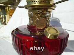 Red Lincoln Drape Oil Lamp with Aladdin Burner and Quilt Pattern Shade