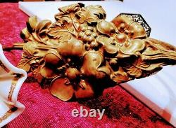 STUNNING ANTIQUE VENETIAN/MURANO GLASS ORCHID and BRONZE DORE CURTAIN TIE BACKS