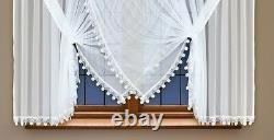 Short window curtain made of white voile with stitched guipure lace 59 x 157