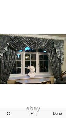Silver Grey/Black Damask Designer Curtains Swags & Tails Lined 7-8ft Window