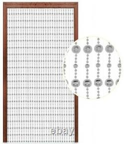 Strong Beaded Door Curtain Silver, Ready Made Hanging Disco-Ball High Quality
