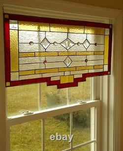 Tiffany Styled Stained Glass Window Panel Valance Curtain 27x17
