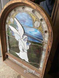 Victorian Leaded Stained Glass Angel Arched Layered And Drapery Window