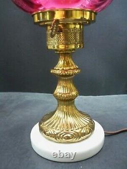 Vintage Fenton Art Glass Cranberry Drapery Lamp with Marble Base