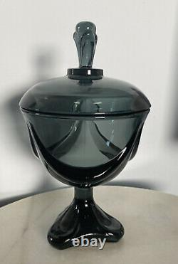 Vintage MSM VIKING EPIC DRAPE SWAG SMOKE GRAY COVERED CANDY DISH 3 Foil Toed