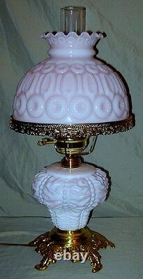 Vintage White/Pink Cased L. G. Wright Consolidated Base Beaded Drape Lamp