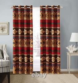 Window Curtain Treatment Drapes Blackout Panel With Grommets Rustic Western 2ct